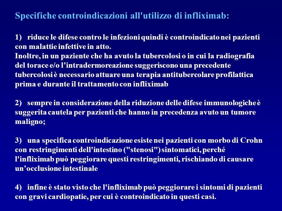 Specifiche controindicazioni all'utilizzo di infliximab: 1) riduce le difese contro le infezioni quindi è controindicato nei pazienti con malattie inf
