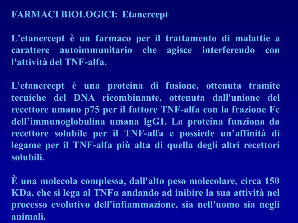 FARMACI BIOLOGICI: Etanercept L'etanercept è un farmaco per il trattamento di malattie a carattere autoimmunitario che agisce interferendo con l'attiv