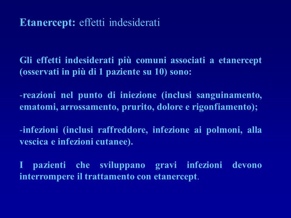 Etanercept: effetti indesiderati Gli effetti indesiderati più comuni associati a etanercept (osservati in più di 1 paziente su 10) sono: -reazioni nel