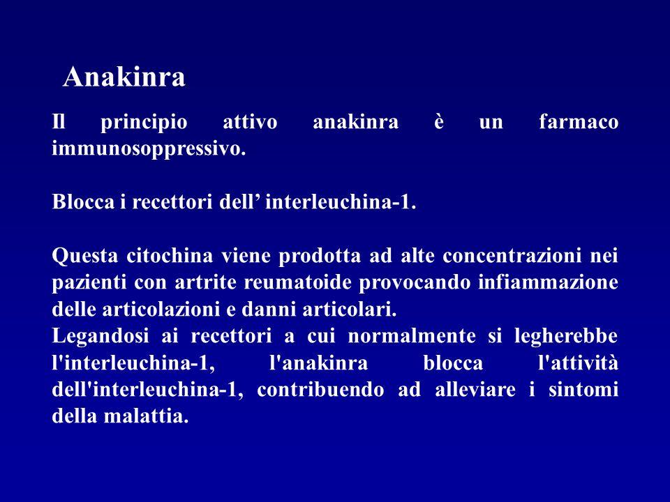Il principio attivo anakinra è un farmaco immunosoppressivo. Blocca i recettori dell interleuchina-1. Questa citochina viene prodotta ad alte concentr