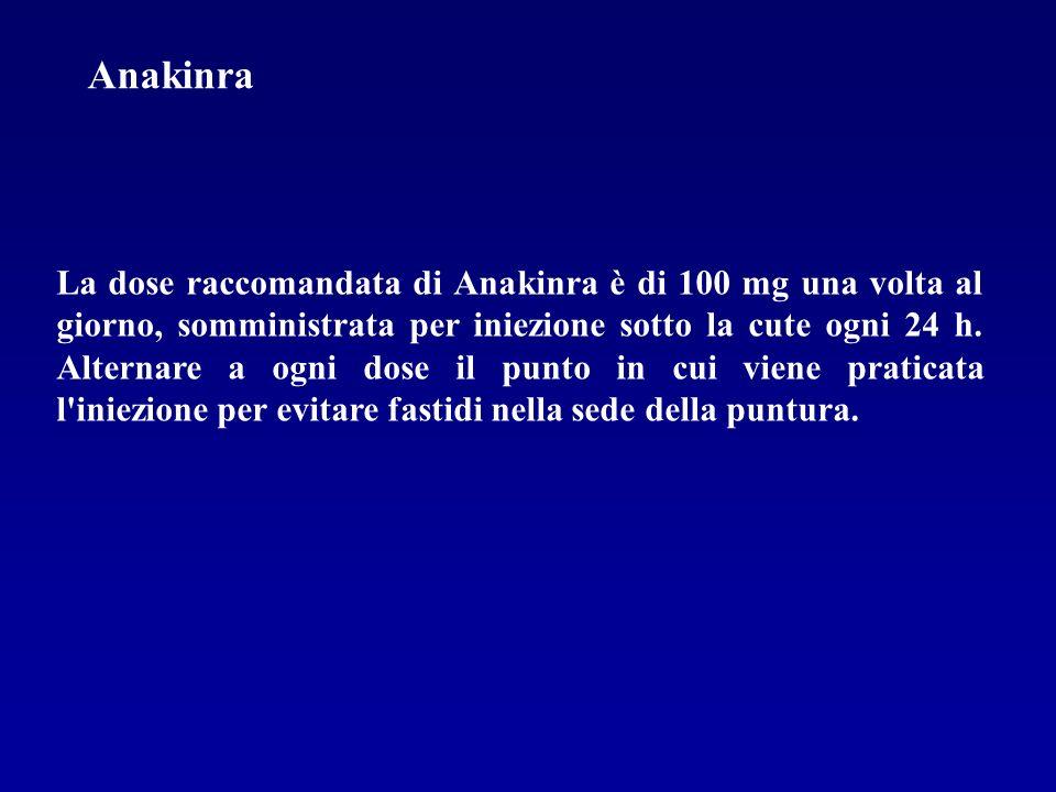 La dose raccomandata di Anakinra è di 100 mg una volta al giorno, somministrata per iniezione sotto la cute ogni 24 h. Alternare a ogni dose il punto