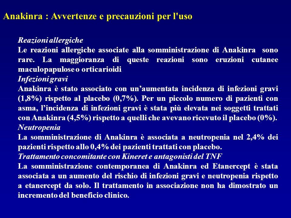 Anakinra : Avvertenze e precauzioni per l'uso Reazioni allergiche Le reazioni allergiche associate alla somministrazione di Anakinra sono rare. La mag