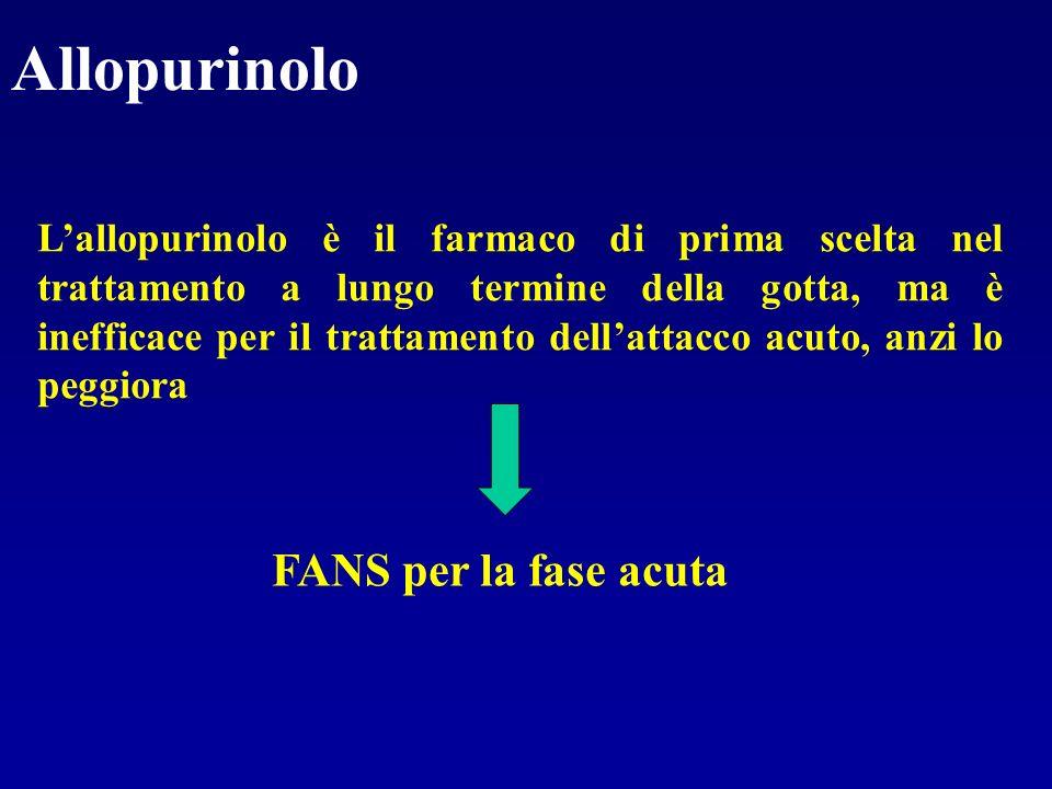 Allopurinolo Lallopurinolo è il farmaco di prima scelta nel trattamento a lungo termine della gotta, ma è inefficace per il trattamento dellattacco ac