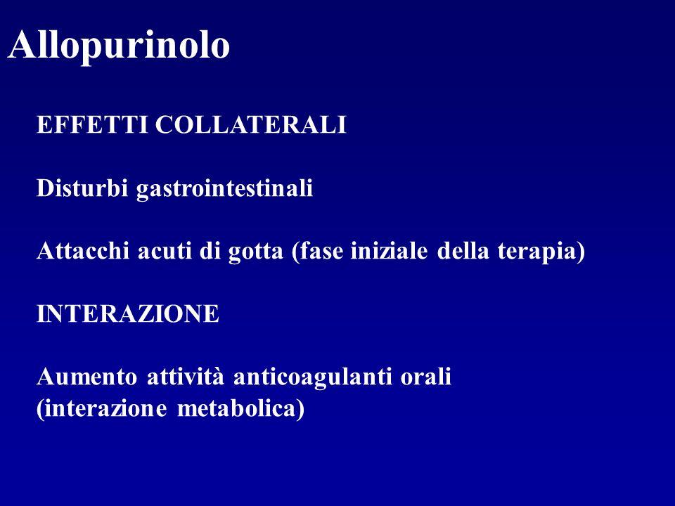 Allopurinolo EFFETTI COLLATERALI Disturbi gastrointestinali Attacchi acuti di gotta (fase iniziale della terapia) INTERAZIONE Aumento attività anticoa