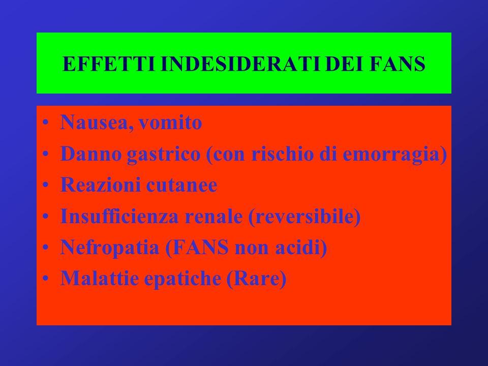 EFFETTI INDESIDERATI DEI FANS Nausea, vomito Danno gastrico (con rischio di emorragia) Reazioni cutanee Insufficienza renale (reversibile) Nefropatia