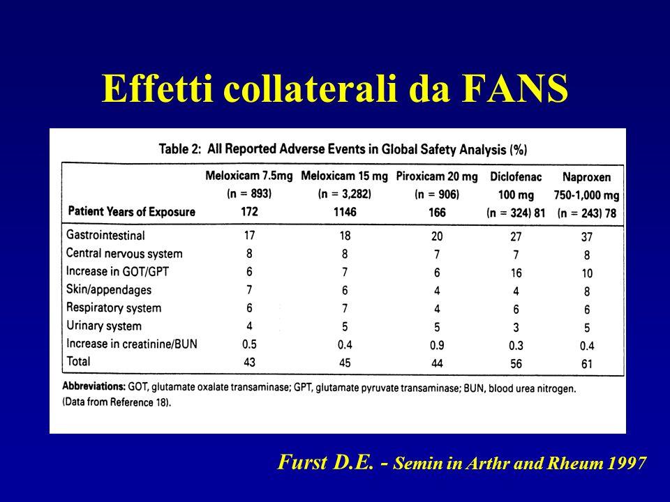 Effetti collaterali da FANS Furst D.E. - Semin in Arthr and Rheum 1997