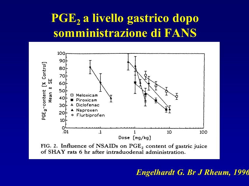 PGE 2 a livello gastrico dopo somministrazione di FANS Engelhardt G. Br J Rheum, 1996