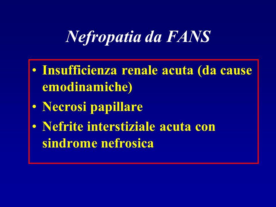 Nefropatia da FANS Insufficienza renale acuta (da cause emodinamiche) Necrosi papillare Nefrite interstiziale acuta con sindrome nefrosica