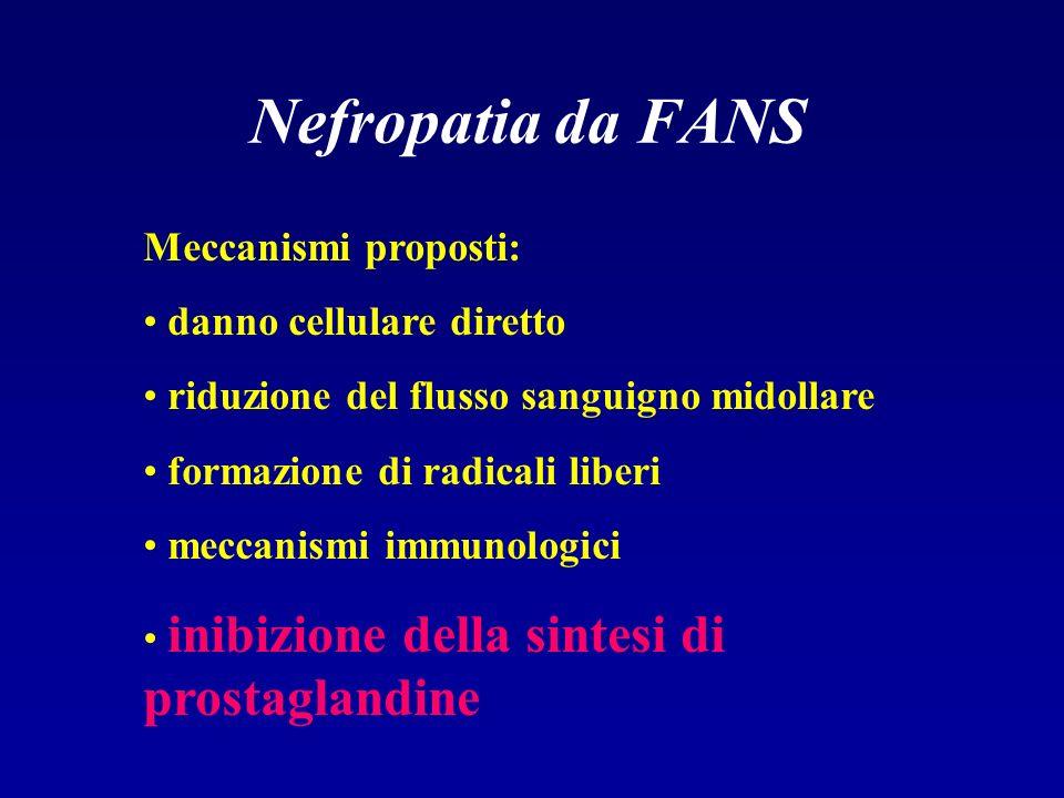 Nefropatia da FANS Meccanismi proposti: danno cellulare diretto riduzione del flusso sanguigno midollare formazione di radicali liberi meccanismi immu