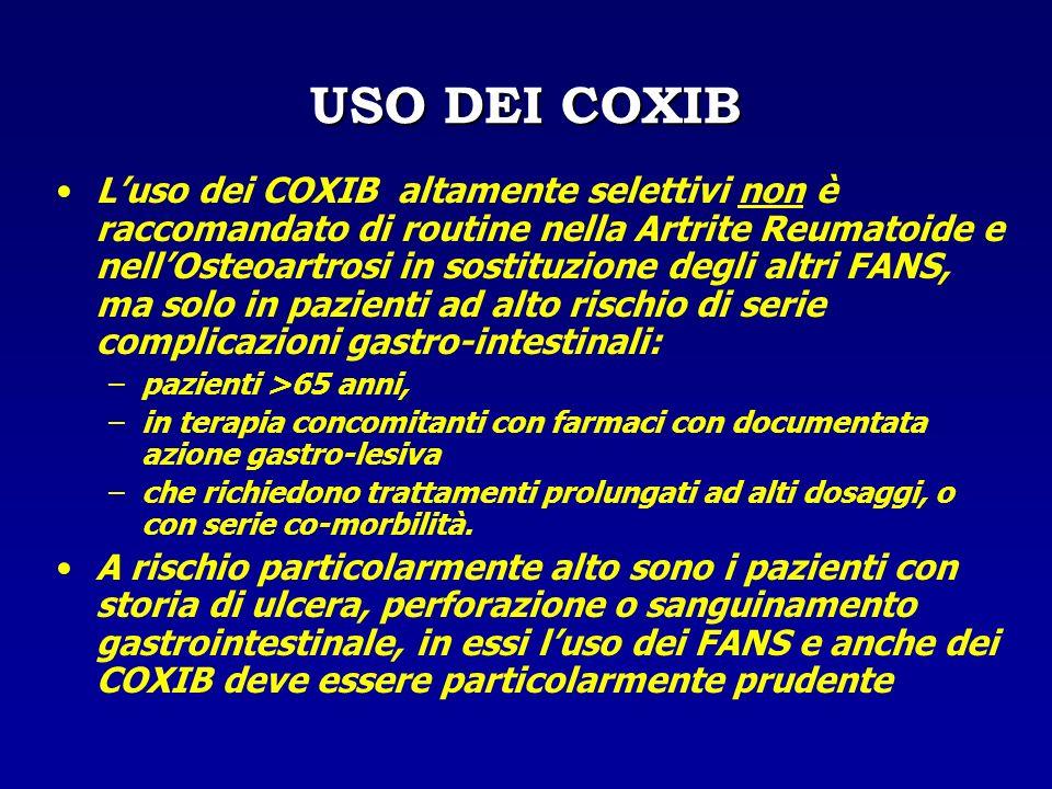USO DEI COXIB Luso dei COXIB altamente selettivi non è raccomandato di routine nella Artrite Reumatoide e nellOsteoartrosi in sostituzione degli altri