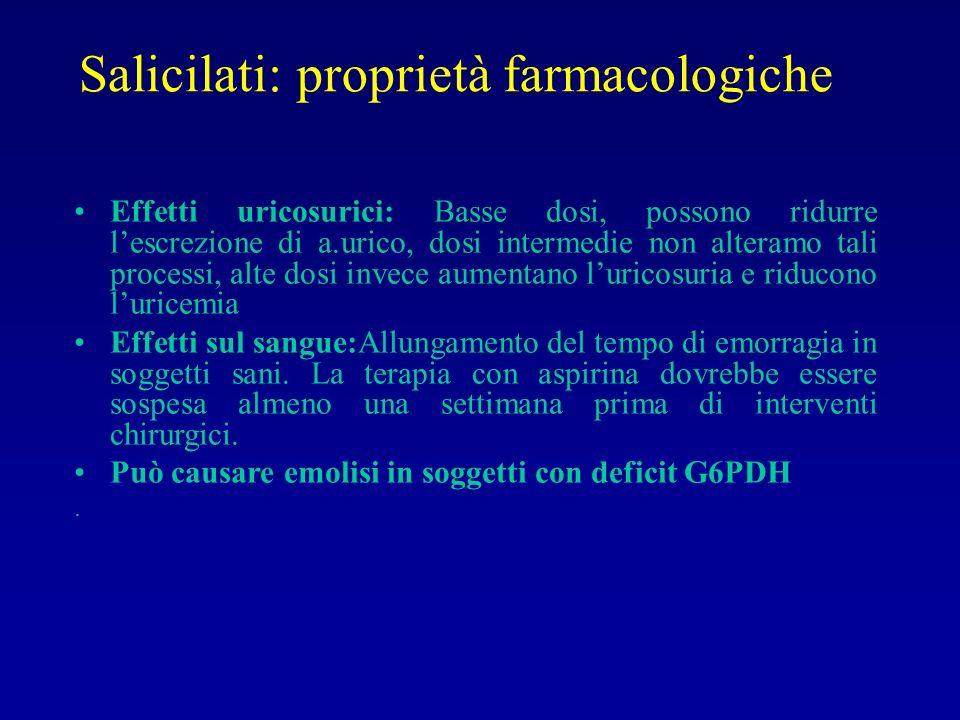 Salicilati: proprietà farmacologiche Effetti uricosurici: Basse dosi, possono ridurre lescrezione di a.urico, dosi intermedie non alteramo tali proces