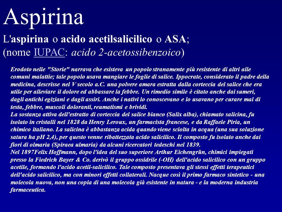 Aspirina L'aspirina o acido acetilsalicilico o ASA; (nome IUPAC: acido 2-acetossibenzoico)IUPAC Erodoto nelle