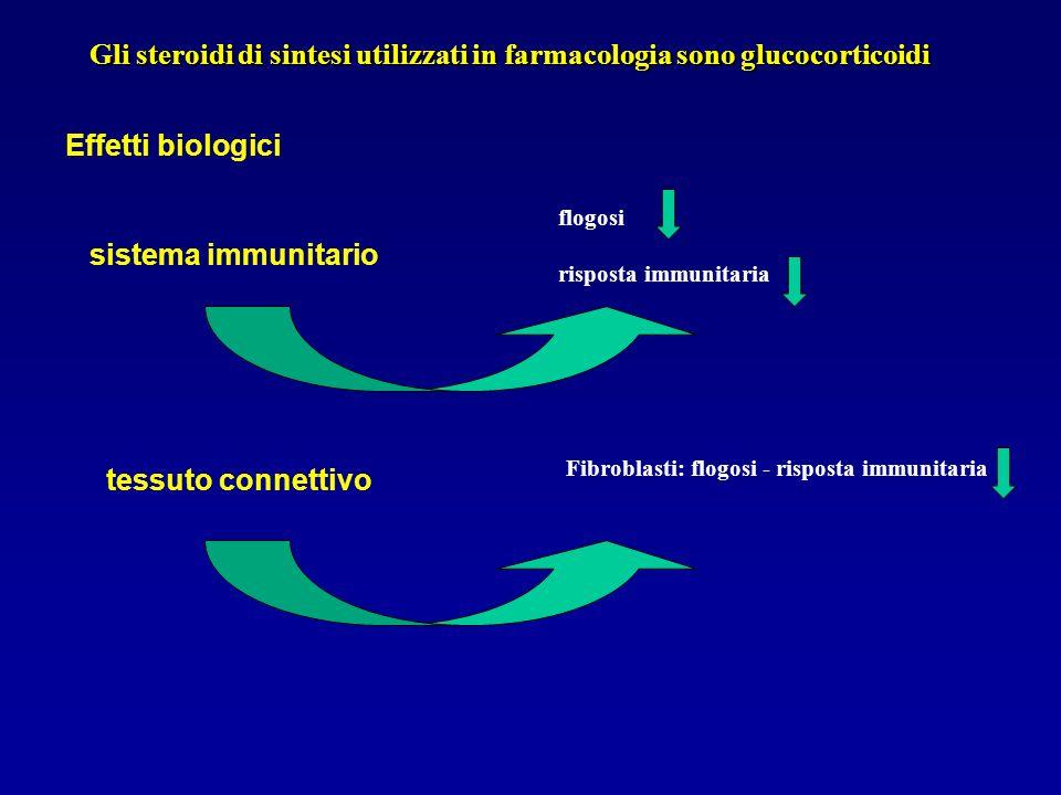 Gli steroidi di sintesi utilizzati in farmacologia sono glucocorticoidi Effetti biologici sistema immunitario flogosi risposta immunitaria tessuto con