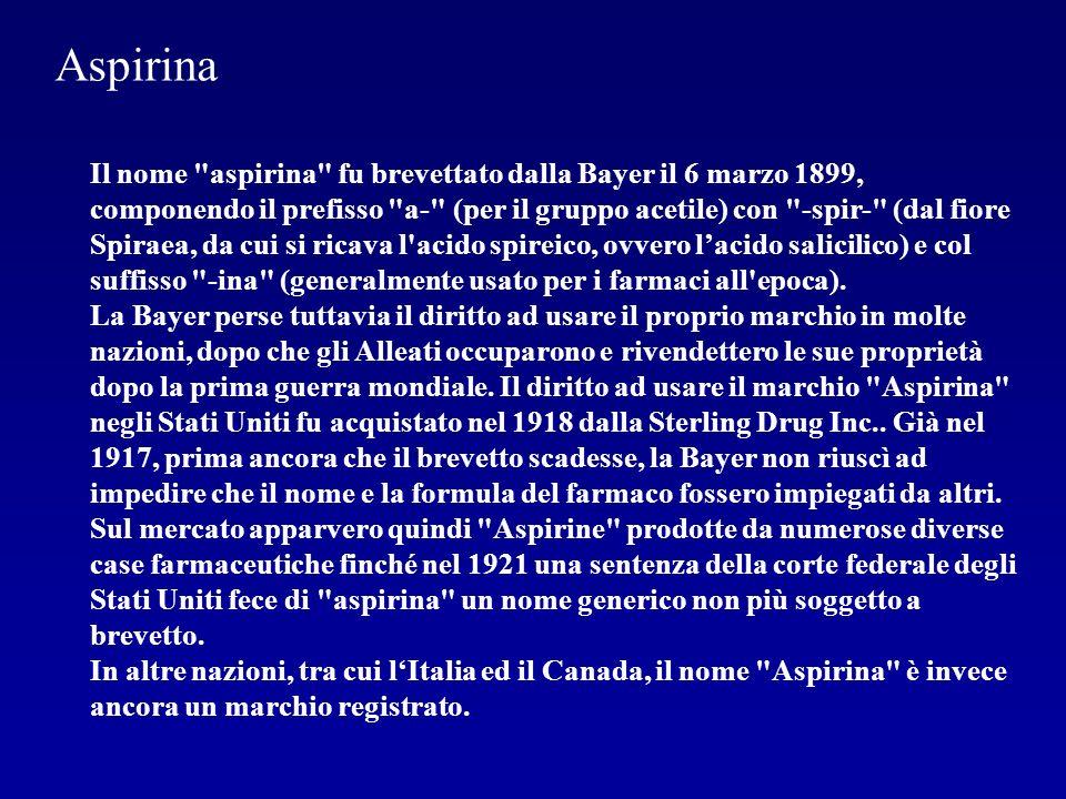 Il meccanismo di azione dell aspirina fu conosciuto in dettaglio solamente nel 1970.