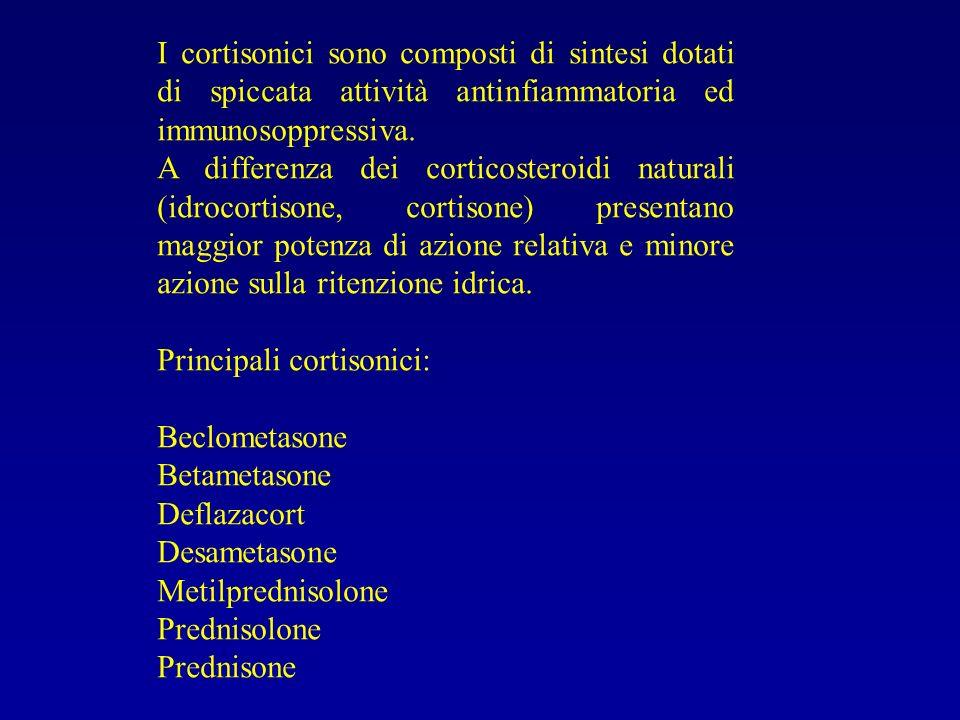 I cortisonici sono composti di sintesi dotati di spiccata attività antinfiammatoria ed immunosoppressiva. A differenza dei corticosteroidi naturali (i