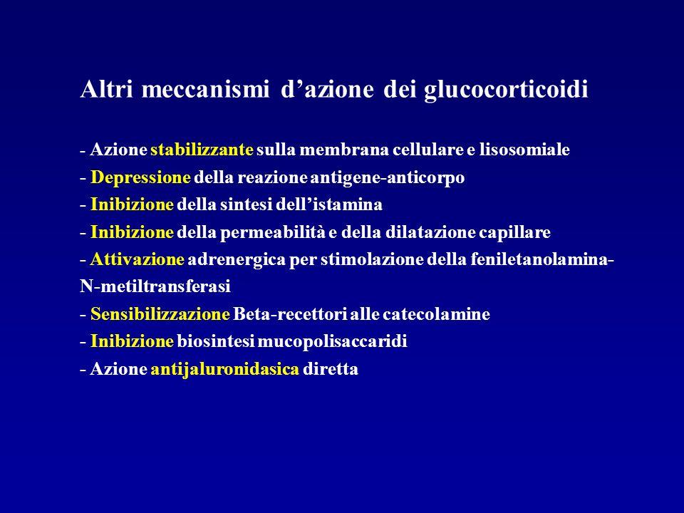 Altri meccanismi dazione dei glucocorticoidi - Azione stabilizzante sulla membrana cellulare e lisosomiale - Depressione della reazione antigene-antic