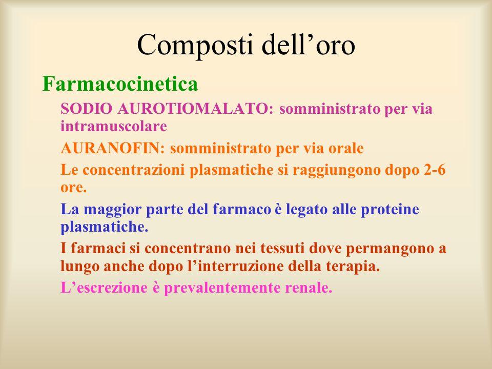 Composti delloro Farmacocinetica SODIO AUROTIOMALATO: somministrato per via intramuscolare AURANOFIN: somministrato per via orale Le concentrazioni pl