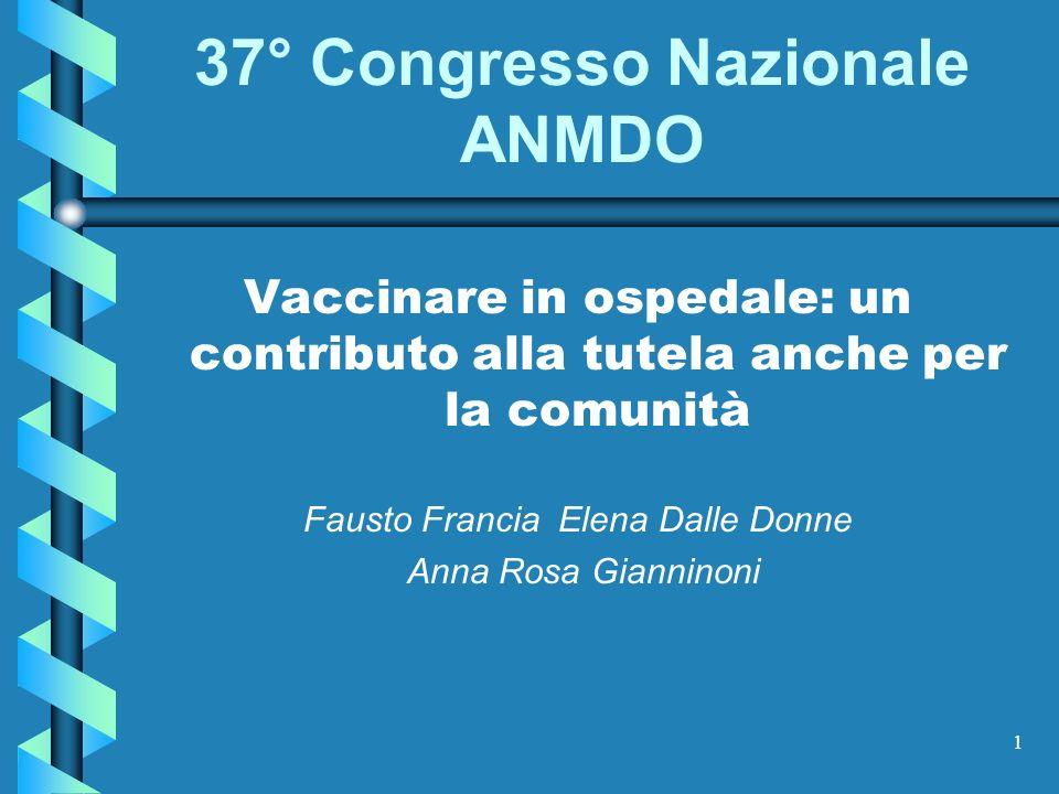 1 37° Congresso Nazionale ANMDO Vaccinare in ospedale: un contributo alla tutela anche per la comunità Fausto Francia Elena Dalle Donne Anna Rosa Gian