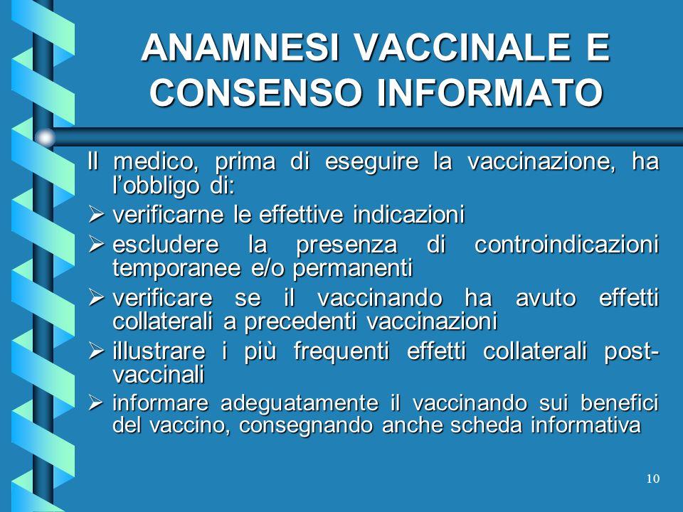 10 ANAMNESI VACCINALE E CONSENSO INFORMATO Il medico, prima di eseguire la vaccinazione, ha lobbligo di: verificarne le effettive indicazioni verifica