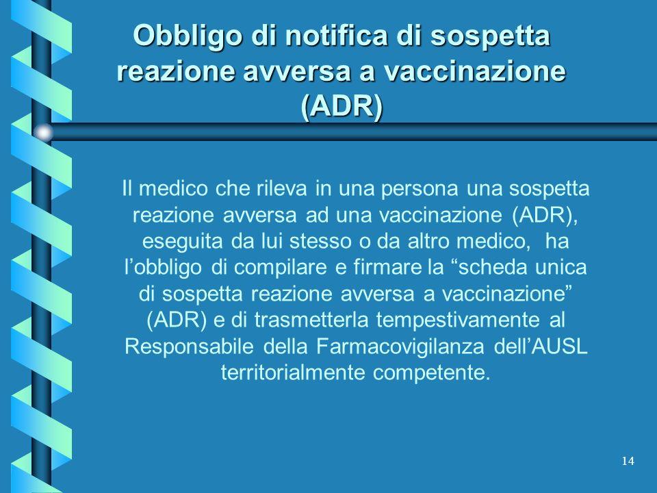 14 Obbligo di notifica di sospetta reazione avversa a vaccinazione (ADR) Il medico che rileva in una persona una sospetta reazione avversa ad una vacc