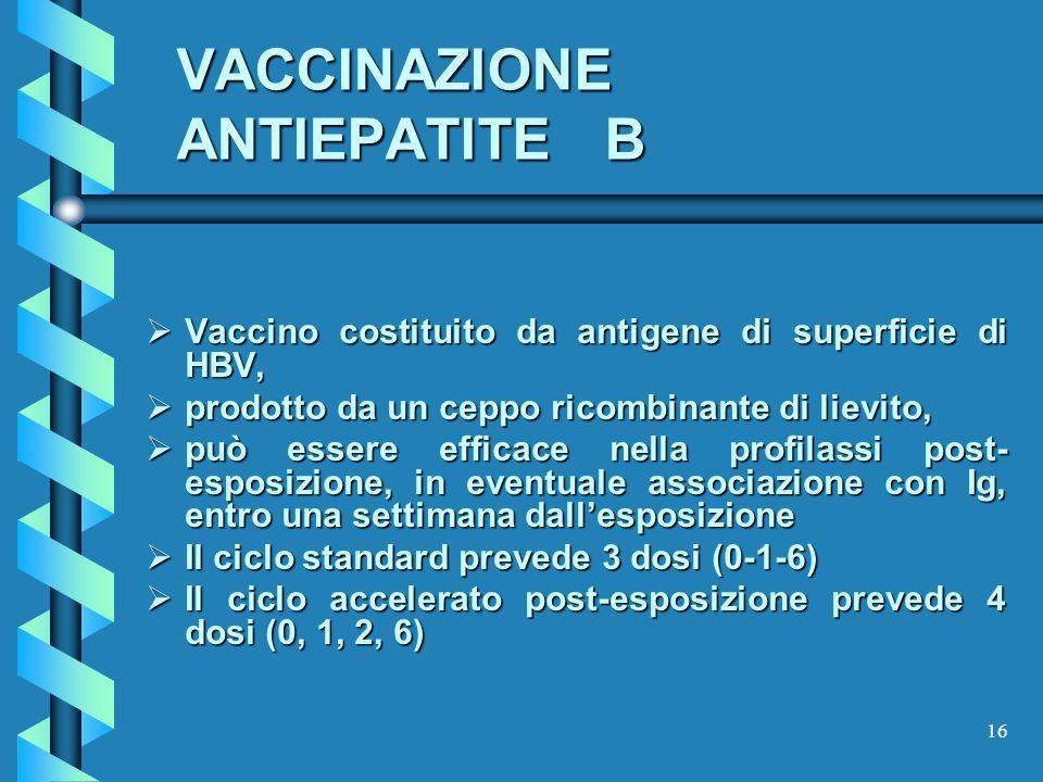 16 VACCINAZIONE ANTIEPATITE B Vaccino costituito da antigene di superficie di HBV, Vaccino costituito da antigene di superficie di HBV, prodotto da un