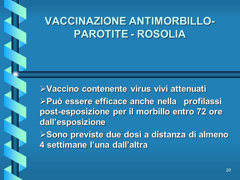 20 VACCINAZIONE ANTIMORBILLO- PAROTITE - ROSOLIA Vaccino contenente virus vivi attenuati Vaccino contenente virus vivi attenuati Può essere efficace a