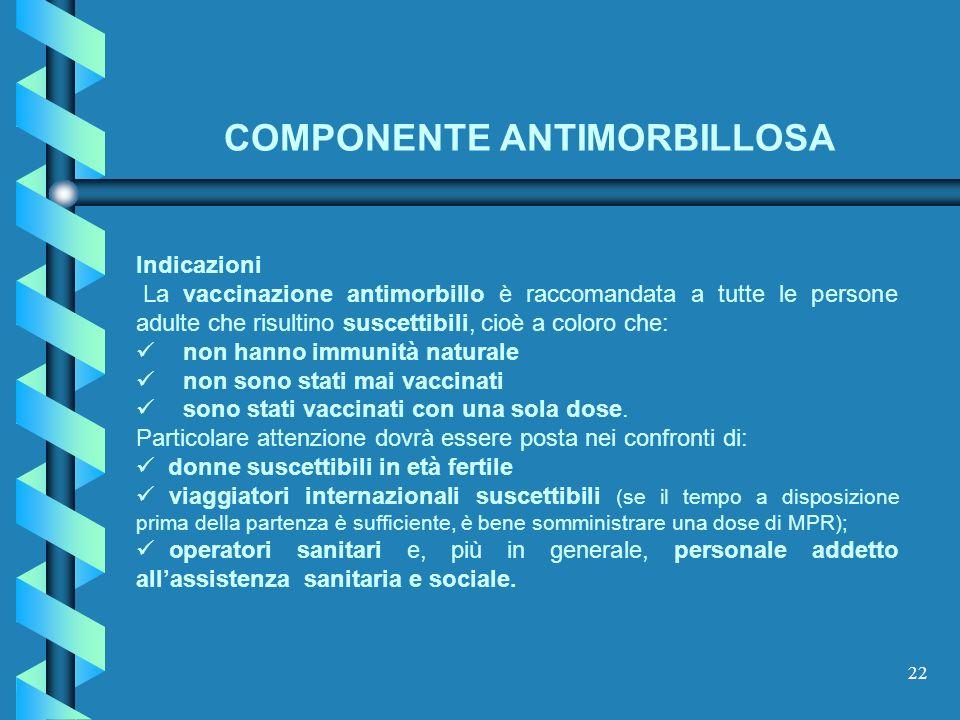 22 Indicazioni La vaccinazione antimorbillo è raccomandata a tutte le persone adulte che risultino suscettibili, cioè a coloro che: non hanno immunità