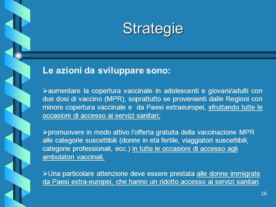 28 Strategie Le azioni da sviluppare sono: aumentare la copertura vaccinale in adolescenti e giovani/adulti con due dosi di vaccino (MPR), soprattutto