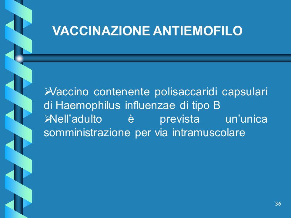 36 Vaccino contenente polisaccaridi capsulari di Haemophilus influenzae di tipo B Nelladulto è prevista ununica somministrazione per via intramuscolar