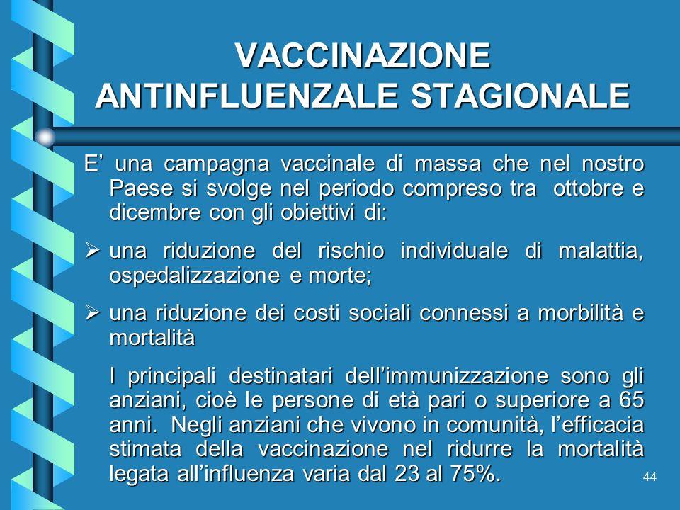 44 VACCINAZIONE ANTINFLUENZALE STAGIONALE E una campagna vaccinale di massa che nel nostro Paese si svolge nel periodo compreso tra ottobre e dicembre
