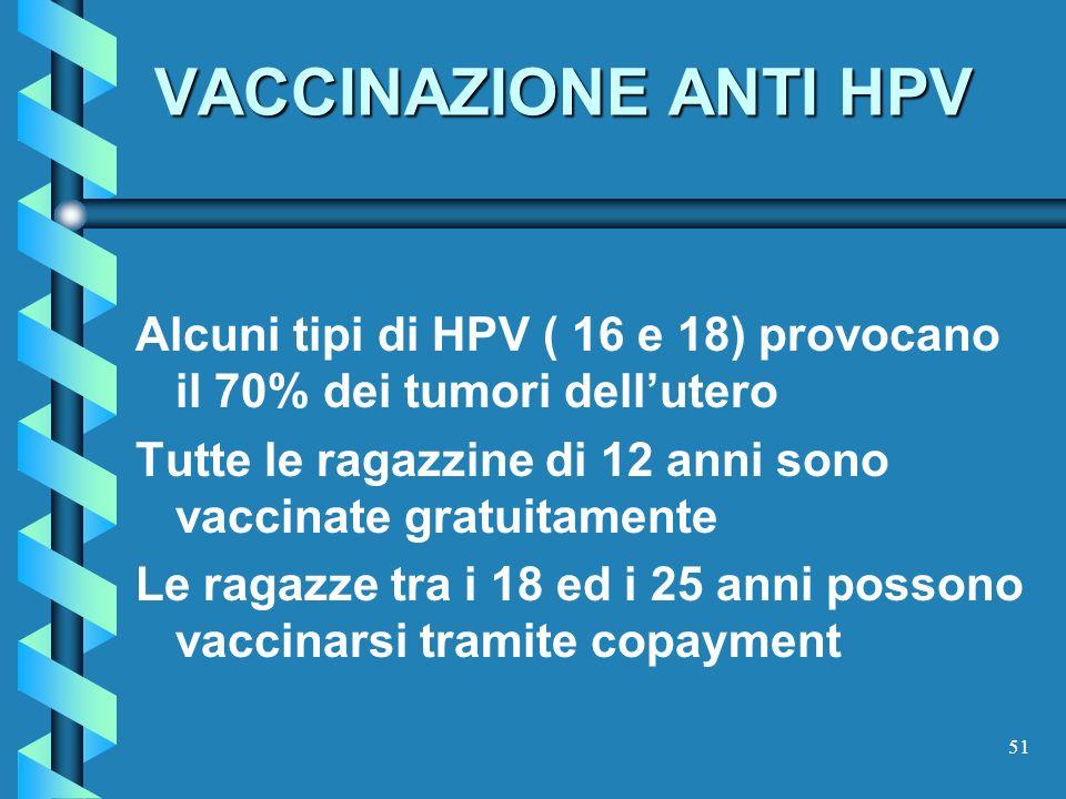 51 VACCINAZIONE ANTI HPV Alcuni tipi di HPV ( 16 e 18) provocano il 70% dei tumori dellutero Tutte le ragazzine di 12 anni sono vaccinate gratuitament