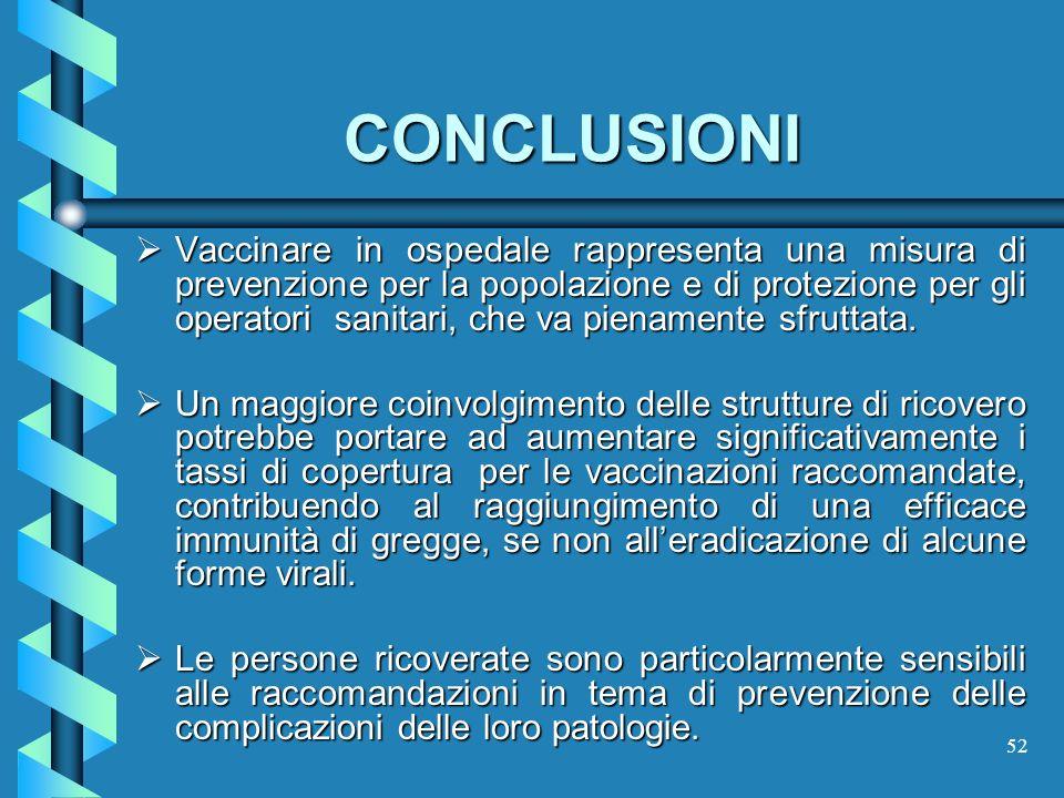 52 CONCLUSIONI Vaccinare in ospedale rappresenta una misura di prevenzione per la popolazione e di protezione per gli operatori sanitari, che va piena