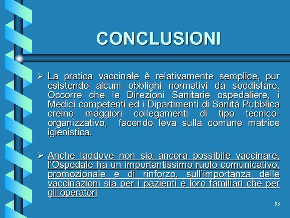53 CONCLUSIONI La pratica vaccinale è relativamente semplice, pur esistendo alcuni obblighi normativi da soddisfare. Occorre che le Direzioni Sanitari