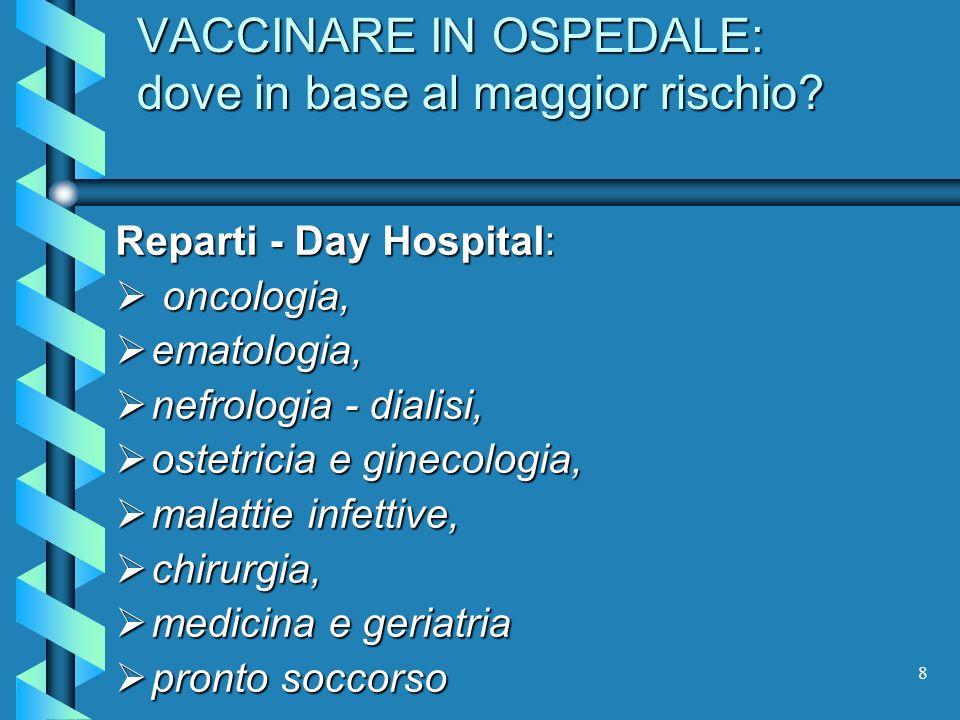8 VACCINARE IN OSPEDALE: dove in base al maggior rischio? Reparti - Day Hospital: oncologia, oncologia, ematologia, ematologia, nefrologia - dialisi,