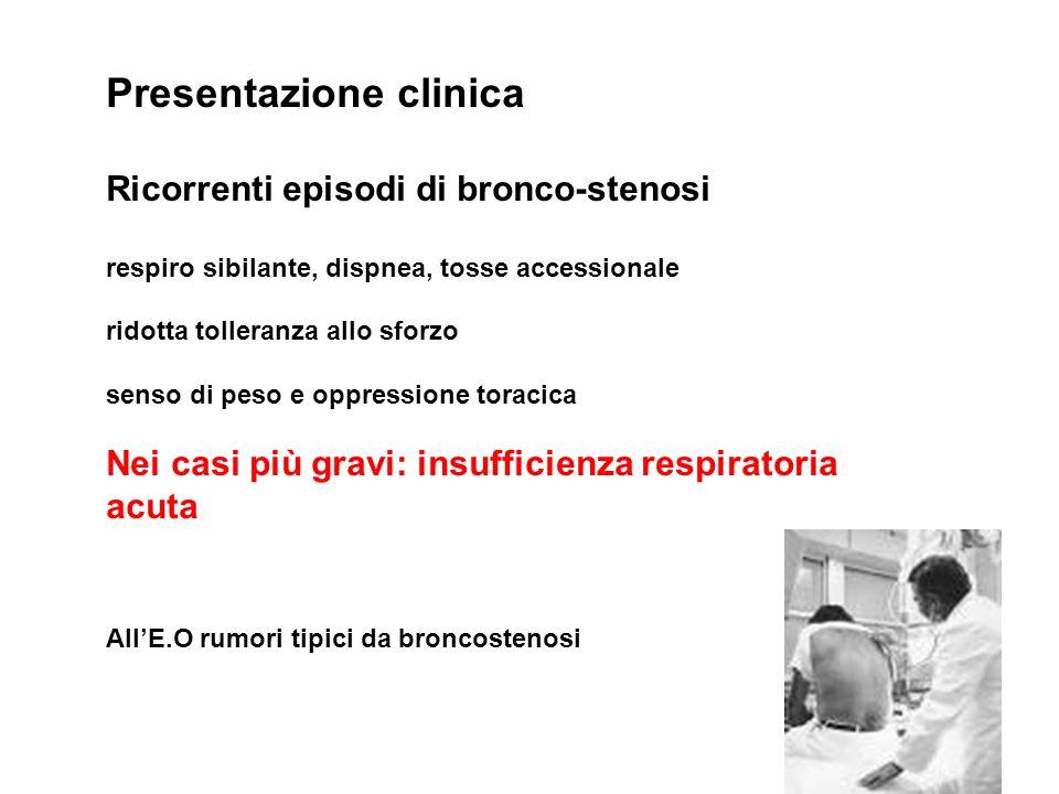 Presentazione clinica Ricorrenti episodi di bronco-stenosi respiro sibilante, dispnea, tosse accessionale ridotta tolleranza allo sforzo senso di peso
