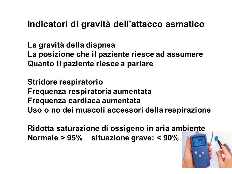 Indicatori di gravità dellattacco asmatico La gravità della dispnea La posizione che il paziente riesce ad assumere Quanto il paziente riesce a parlar
