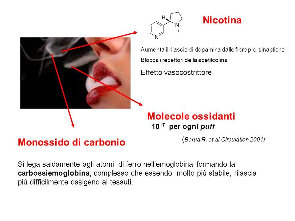 Molecole ossidanti 10 17 per ogni puff ( Barua R. et al Circulation 2001) Monossido di carbonio Si lega saldamente agli atomi di ferro nellemoglobina