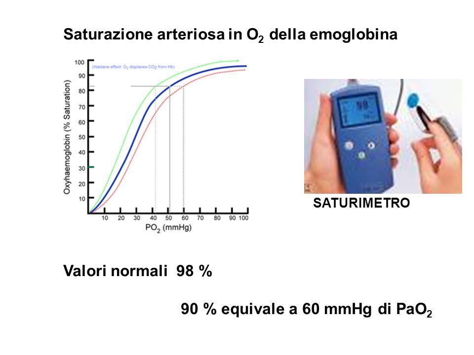 SATURIMETRO Saturazione arteriosa in O 2 della emoglobina Valori normali 98 % 90 % equivale a 60 mmHg di PaO 2