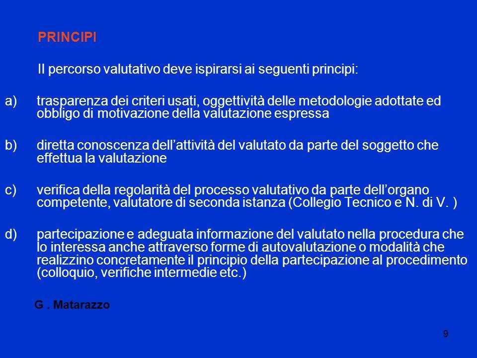 9 PRINCIPI Il percorso valutativo deve ispirarsi ai seguenti principi: a)trasparenza dei criteri usati, oggettività delle metodologie adottate ed obbl
