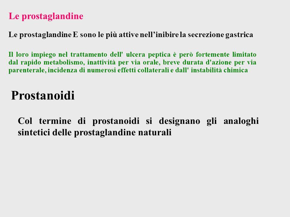 Col termine di prostanoidi si designano gli analoghi sintetici delle prostaglandine naturali Prostanoidi Il loro impiego nel trattamento dell' ulcera