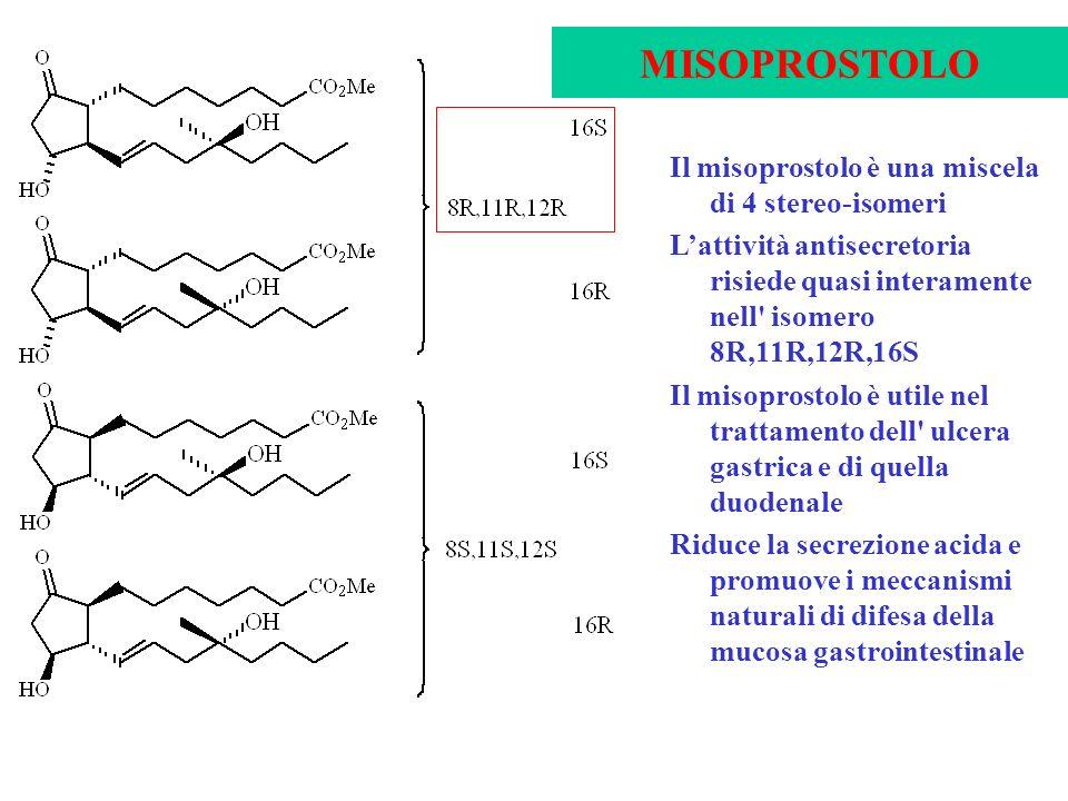 Il misoprostolo è una miscela di 4 stereo-isomeri Lattività antisecretoria risiede quasi interamente nell' isomero 8R,11R,12R,16S Il misoprostolo è ut