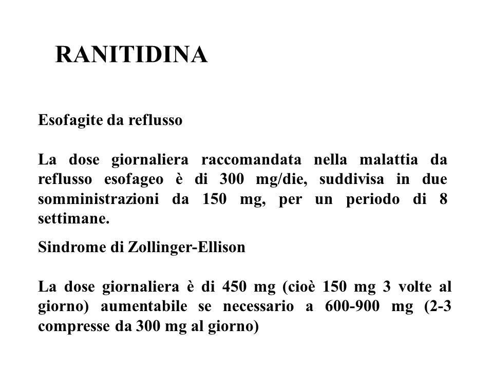 RANITIDINA Esofagite da reflusso La dose giornaliera raccomandata nella malattia da reflusso esofageo è di 300 mg/die, suddivisa in due somministrazio