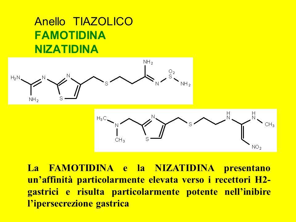 Anello TIAZOLICO FAMOTIDINA NIZATIDINA La FAMOTIDINA e la NIZATIDINA presentano unaffinità particolarmente elevata verso i recettori H2- gastrici e ri