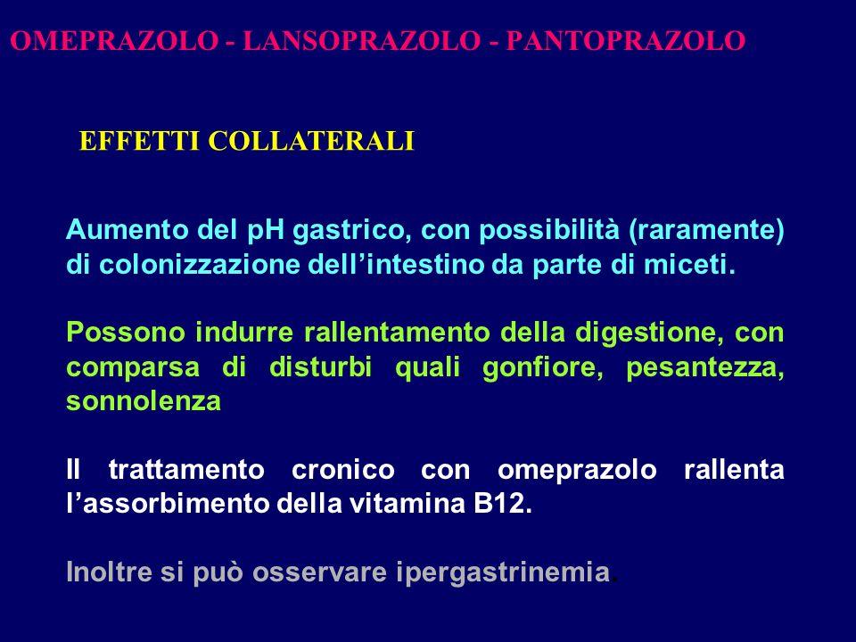 OMEPRAZOLO - LANSOPRAZOLO - PANTOPRAZOLO Aumento del pH gastrico, con possibilità (raramente) di colonizzazione dellintestino da parte di miceti. Poss