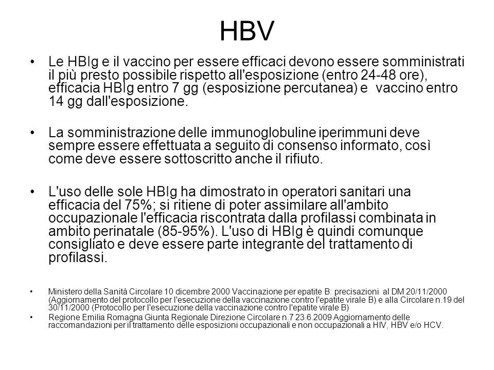 HBV Le HBIg e il vaccino per essere efficaci devono essere somministrati il più presto possibile rispetto all'esposizione (entro 24-48 ore), efficacia