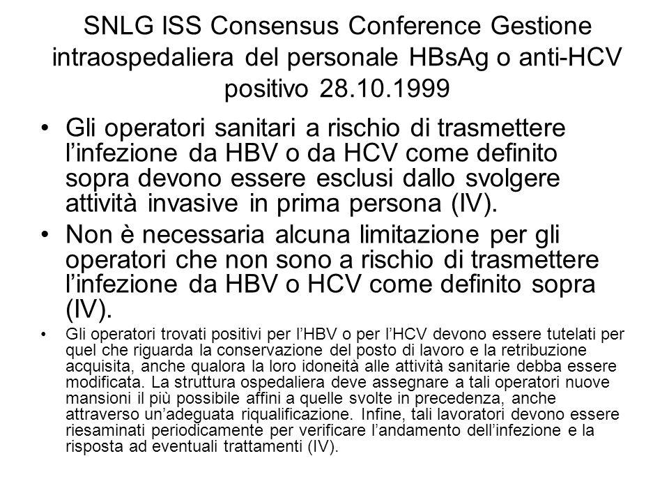 SNLG ISS Consensus Conference Gestione intraospedaliera del personale HBsAg o anti-HCV positivo 28.10.1999 Gli operatori sanitari a rischio di trasmet