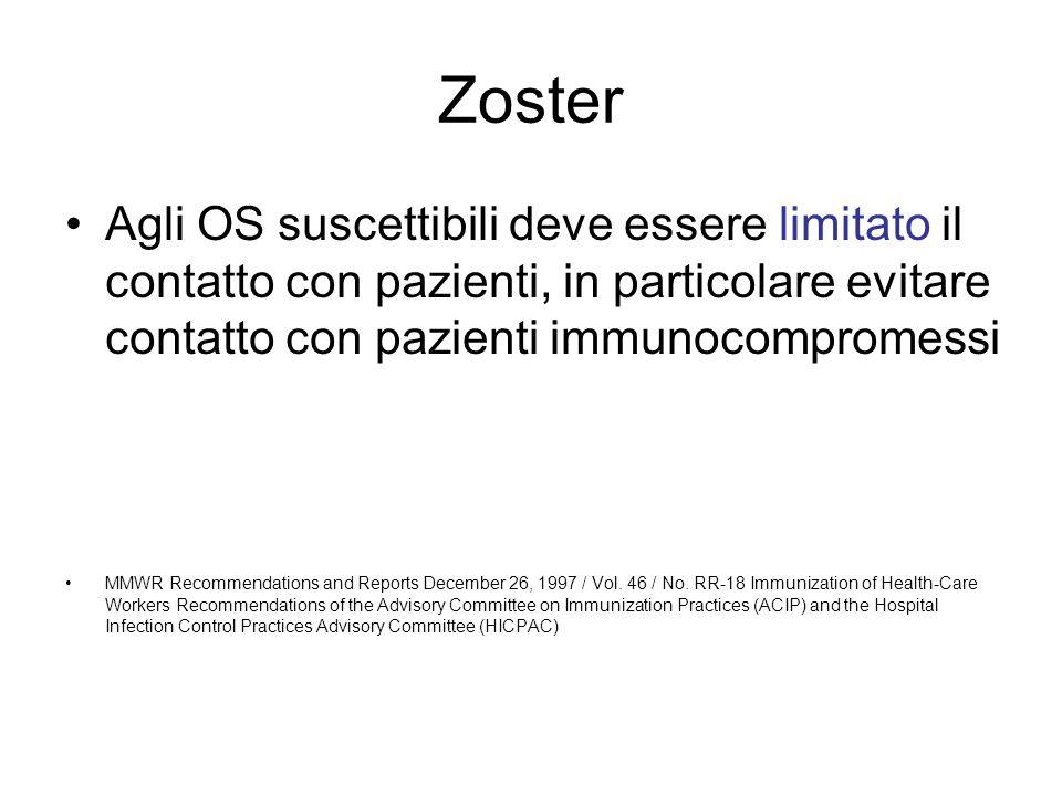 Zoster Agli OS suscettibili deve essere limitato il contatto con pazienti, in particolare evitare contatto con pazienti immunocompromessi MMWR Recomme