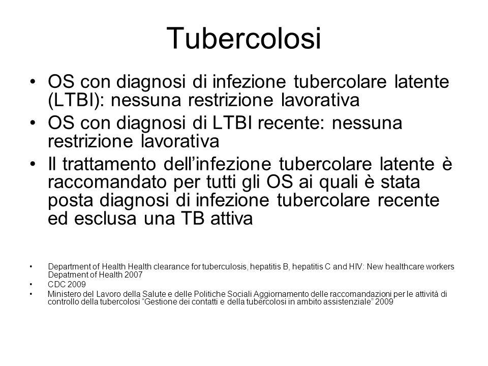 Tubercolosi OS con diagnosi di infezione tubercolare latente (LTBI): nessuna restrizione lavorativa OS con diagnosi di LTBI recente: nessuna restrizio