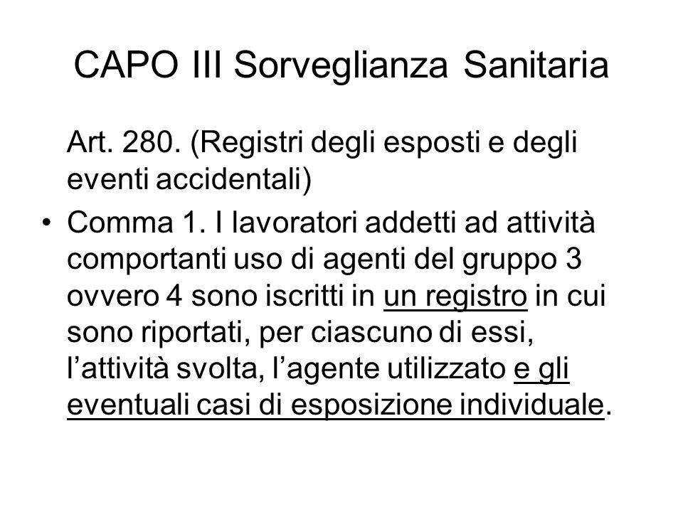 CAPO III Sorveglianza Sanitaria Art. 280. (Registri degli esposti e degli eventi accidentali) Comma 1. I lavoratori addetti ad attività comportanti us