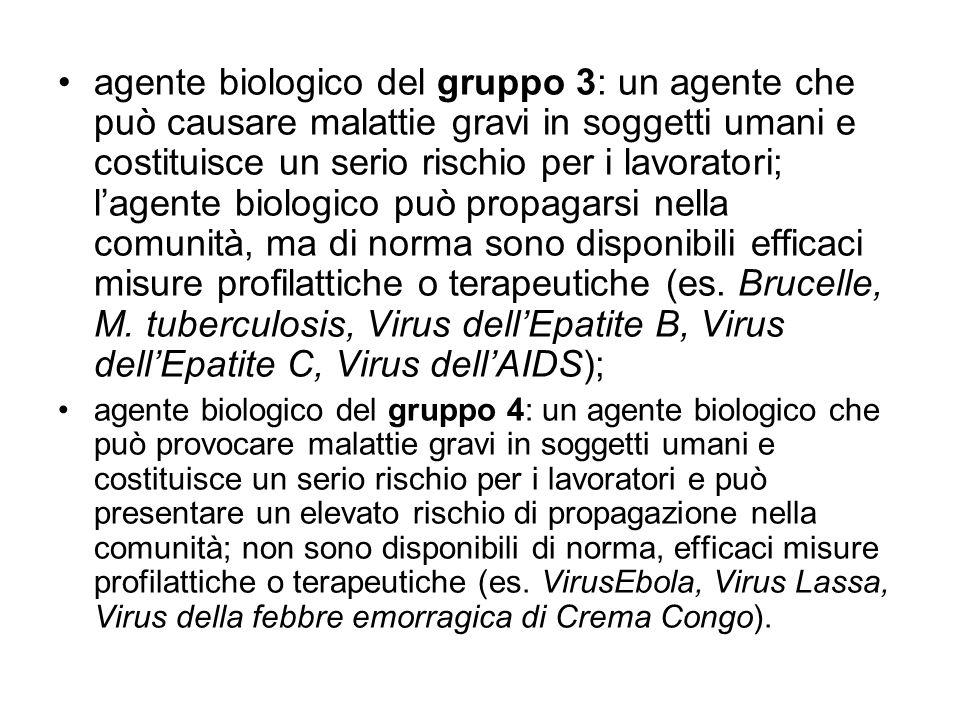 agente biologico del gruppo 3: un agente che può causare malattie gravi in soggetti umani e costituisce un serio rischio per i lavoratori; lagente bio
